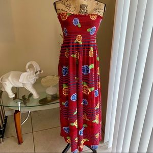 Gold Drama Red Floral Striped Strapless Dress